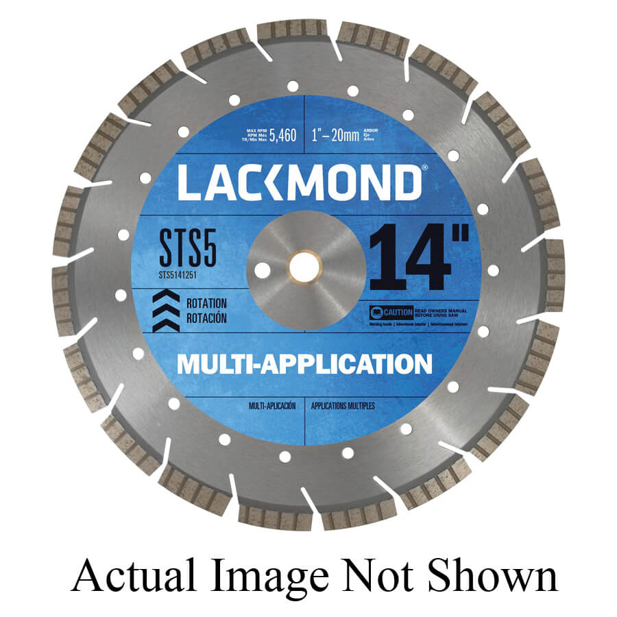 Lackmond® Sts5121251 Sts-5 Laser Weld Segmented Turbo Diamond Blade, 12 In  Dia, 1/8 In W Cutting, 1 In To 20 mm, Wet/Dry