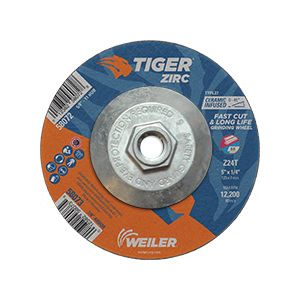 Depressed Center Wheel 6 in Dia 1//4 in Thick 175 Pack 24 Grit Aluminum Oxide